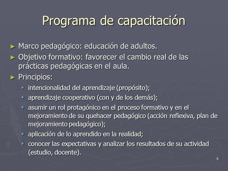5 Programa de capacitación Marco pedagógico: educación de adultos. Marco pedagógico: educación de adultos. Objetivo formativo: favorecer el cambio rea
