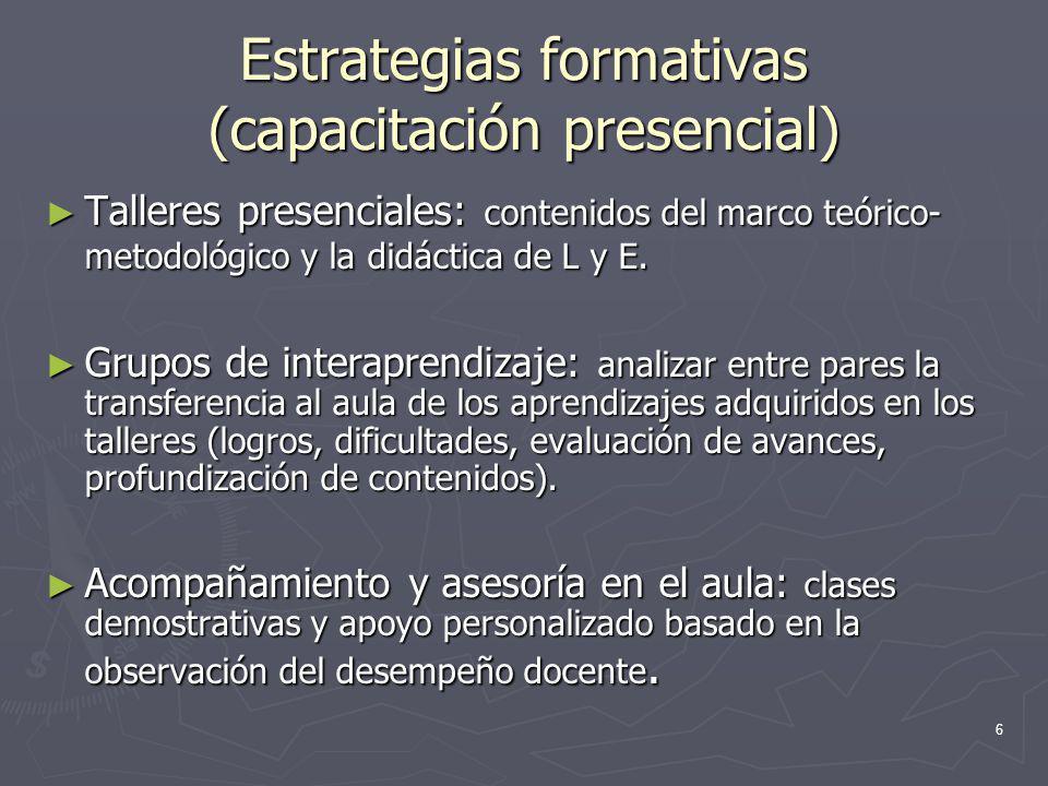 6 Estrategias formativas (capacitación presencial) Talleres presenciales: contenidos del marco teórico- metodológico y la didáctica de L y E. Talleres