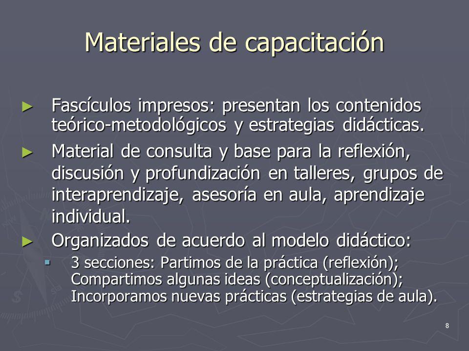 8 Materiales de capacitación Fascículos impresos: presentan los contenidos teórico-metodológicos y estrategias didácticas. Fascículos impresos: presen