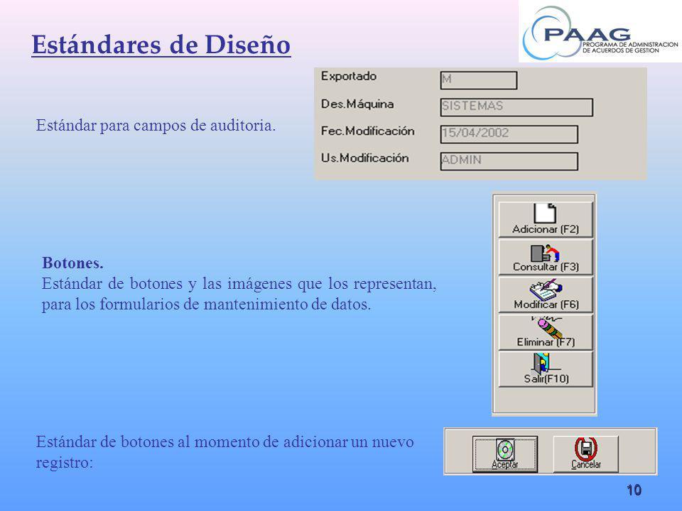 10 Estándar para campos de auditoria. Botones. Estándar de botones y las imágenes que los representan, para los formularios de mantenimiento de datos.