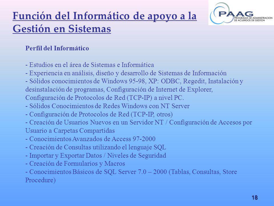18 Función del Informático de apoyo a la Gestión en Sistemas Perfil del Informático - Estudios en el área de Sistemas e Informática - Experiencia en a