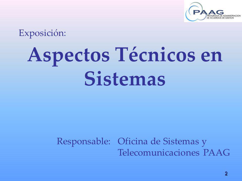 2 Aspectos Técnicos en Sistemas Exposición: Responsable:Oficina de Sistemas y Telecomunicaciones PAAG