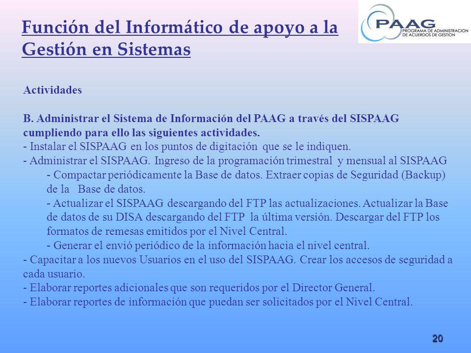 20 Función del Informático de apoyo a la Gestión en Sistemas Actividades B. Administrar el Sistema de Información del PAAG a través del SISPAAG cumpli