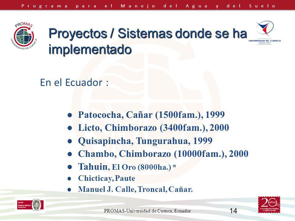 Programa para el Manejo del Agua y del Suelo PROMAS-Universidad de Cuenca, Ecuador 14 En el Ecuador : Proyectos / Sistemas donde se ha implementado Patococha, Cañar (1500fam.), 1999 Licto, Chimborazo (3400fam.), 2000 Quisapincha, Tungurahua, 1999 Chambo, Chimborazo (10000fam.), 2000 Tahuin, El Oro (8000ha.) * Chicticay, Paute Manuel J.