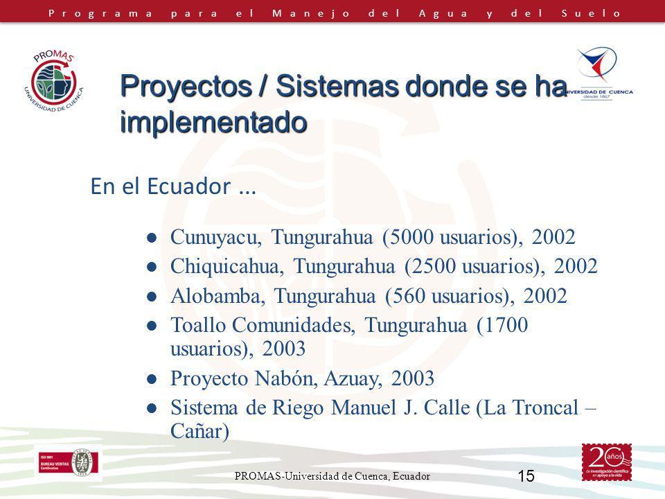 Programa para el Manejo del Agua y del Suelo PROMAS-Universidad de Cuenca, Ecuador 15 En el Ecuador... Cunuyacu, Tungurahua (5000 usuarios), 2002 Chiq