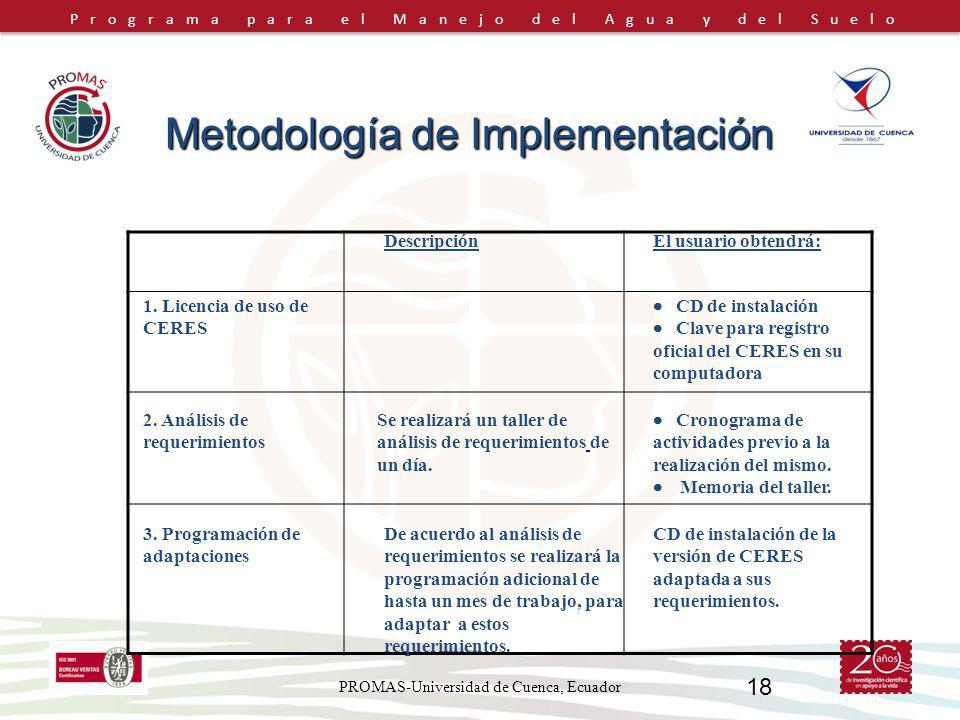 Programa para el Manejo del Agua y del Suelo PROMAS-Universidad de Cuenca, Ecuador 18 Metodología de Implementación DescripciónEl usuario obtendrá: 1.