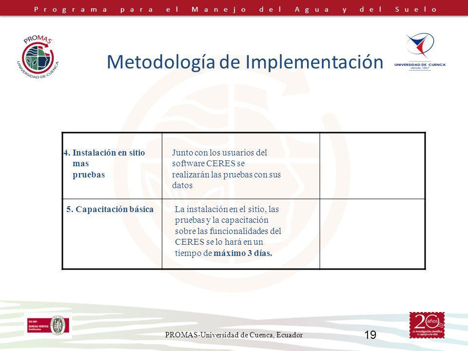 Programa para el Manejo del Agua y del Suelo PROMAS-Universidad de Cuenca, Ecuador 19 Metodología de Implementación 4. Instalación en sitio mas prueba