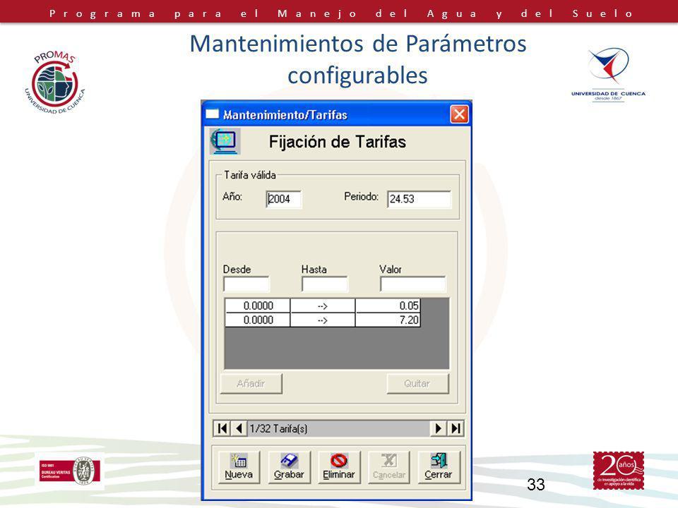 Programa para el Manejo del Agua y del Suelo PROMAS-Universidad de Cuenca, Ecuador 33 Mantenimientos de Parámetros configurables