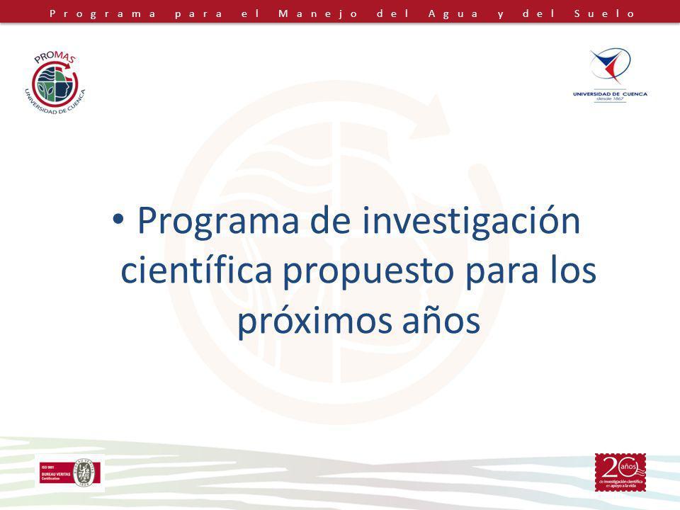 Programa para el Manejo del Agua y del Suelo Programa de investigación científica propuesto para los próximos años