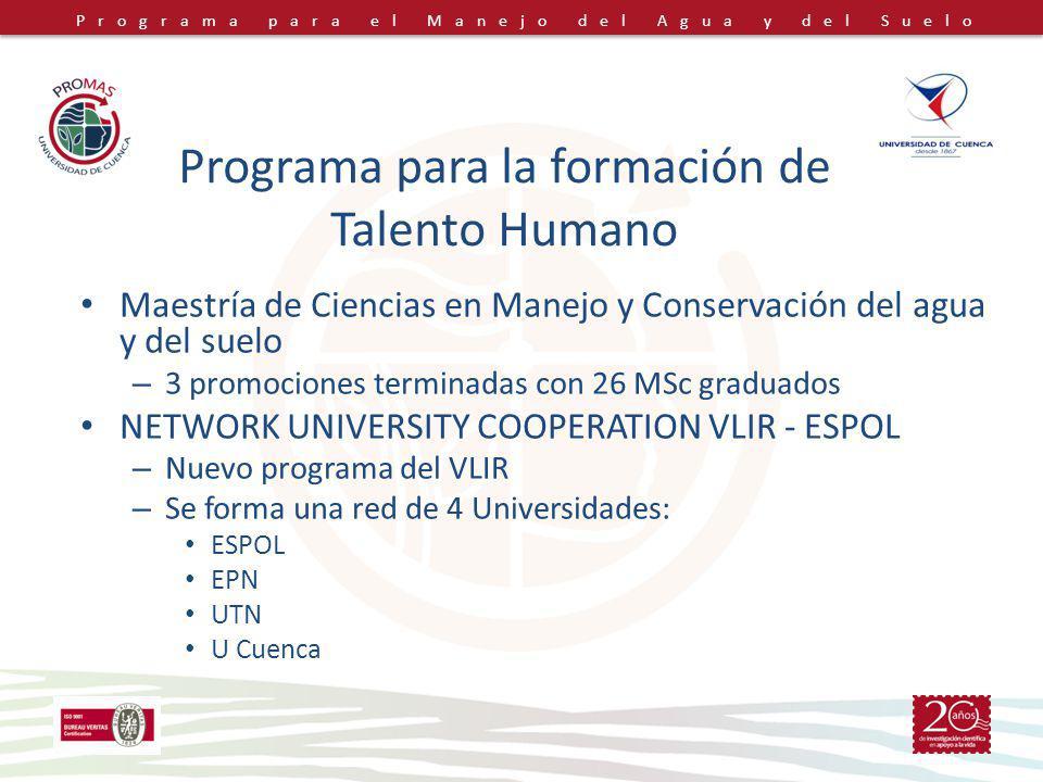 Programa para el Manejo del Agua y del Suelo Maestría de Ciencias en Manejo y Conservación del agua y del suelo – 3 promociones terminadas con 26 MSc
