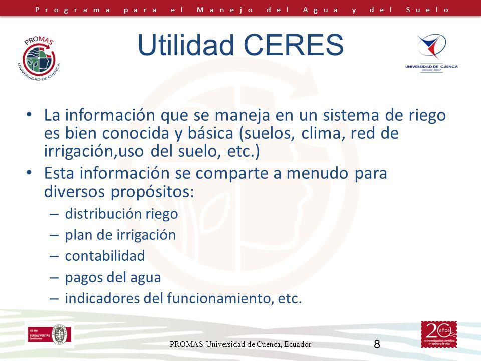 Programa para el Manejo del Agua y del Suelo PROMAS-Universidad de Cuenca, Ecuador 8 La información que se maneja en un sistema de riego es bien conoc