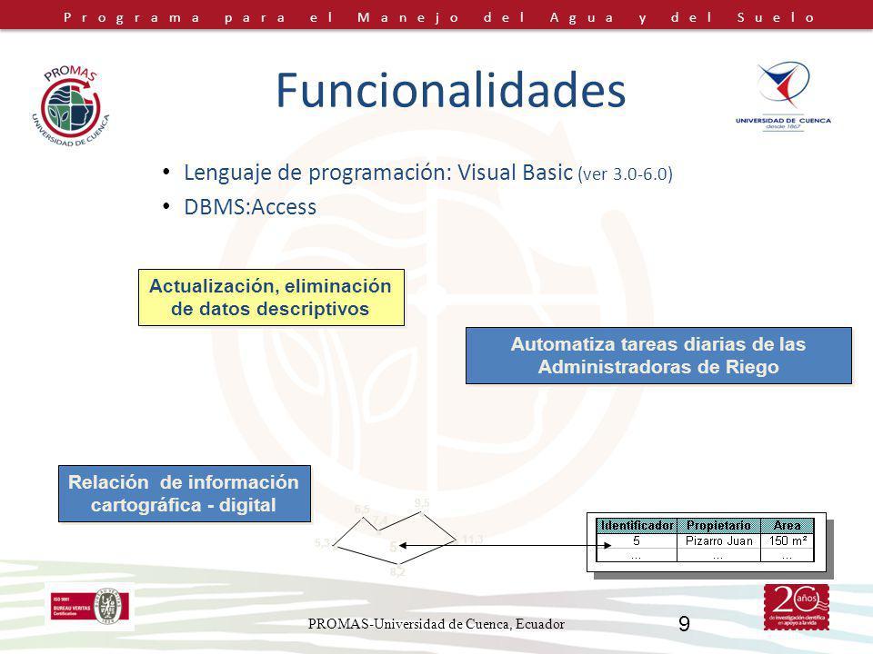 Programa para el Manejo del Agua y del Suelo PROMAS-Universidad de Cuenca, Ecuador 9 Funcionalidades Lenguaje de programación: Visual Basic (ver 3.0-6
