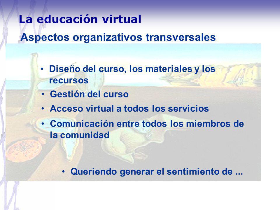 Aspectos organizativos transversales Diseño del curso, los materiales y los recursos Gestión del curso Acceso virtual a todos los servicios Comunicaci