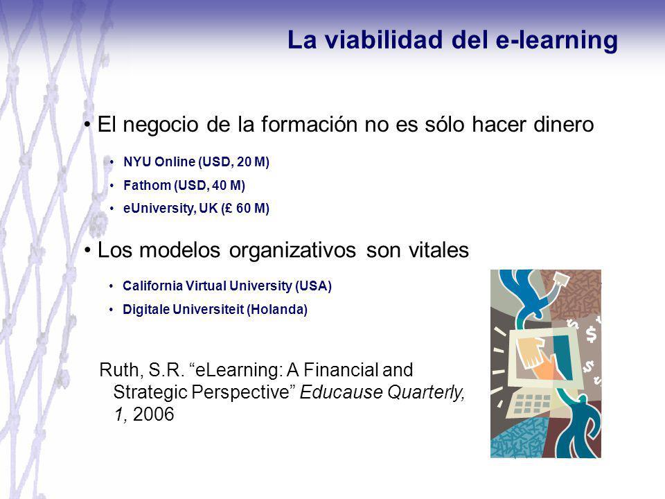 El negocio de la formación no es sólo hacer dinero La viabilidad del e-learning NYU Online (USD, 20 M) Fathom (USD, 40 M) eUniversity, UK (£ 60 M) Los