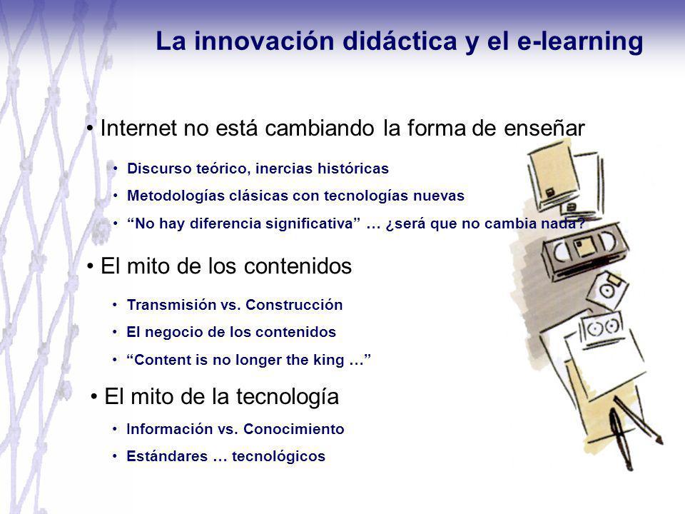 Internet no está cambiando la forma de enseñar La innovación didáctica y el e-learning Discurso teórico, inercias históricas Metodologías clásicas con