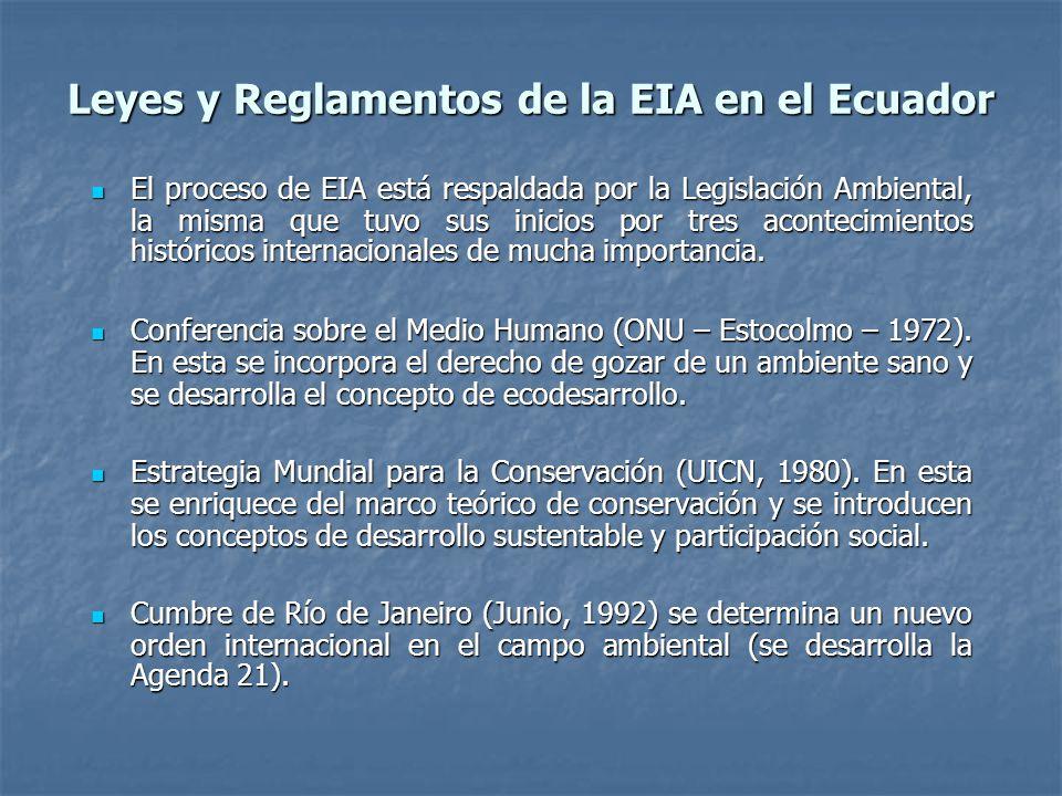 Leyes y Reglamentos de la EIA en el Ecuador El proceso de EIA está respaldada por la Legislación Ambiental, la misma que tuvo sus inicios por tres acontecimientos históricos internacionales de mucha importancia.
