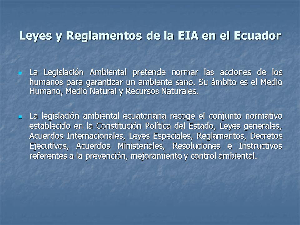Leyes y Reglamentos de la EIA en el Ecuador La Legislación Ambiental pretende normar las acciones de los humanos para garantizar un ambiente sano. Su