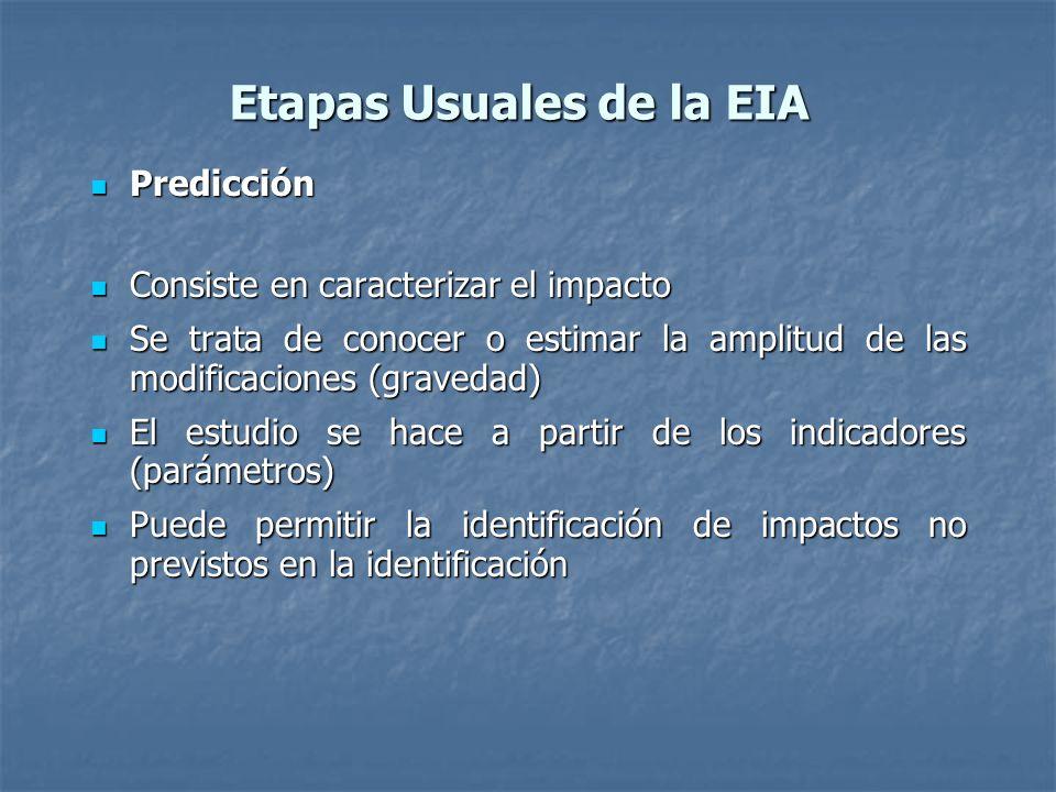 Etapas Usuales de la EIA Predicción Predicción Consiste en caracterizar el impacto Consiste en caracterizar el impacto Se trata de conocer o estimar la amplitud de las modificaciones (gravedad) Se trata de conocer o estimar la amplitud de las modificaciones (gravedad) El estudio se hace a partir de los indicadores (parámetros) El estudio se hace a partir de los indicadores (parámetros) Puede permitir la identificación de impactos no previstos en la identificación Puede permitir la identificación de impactos no previstos en la identificación