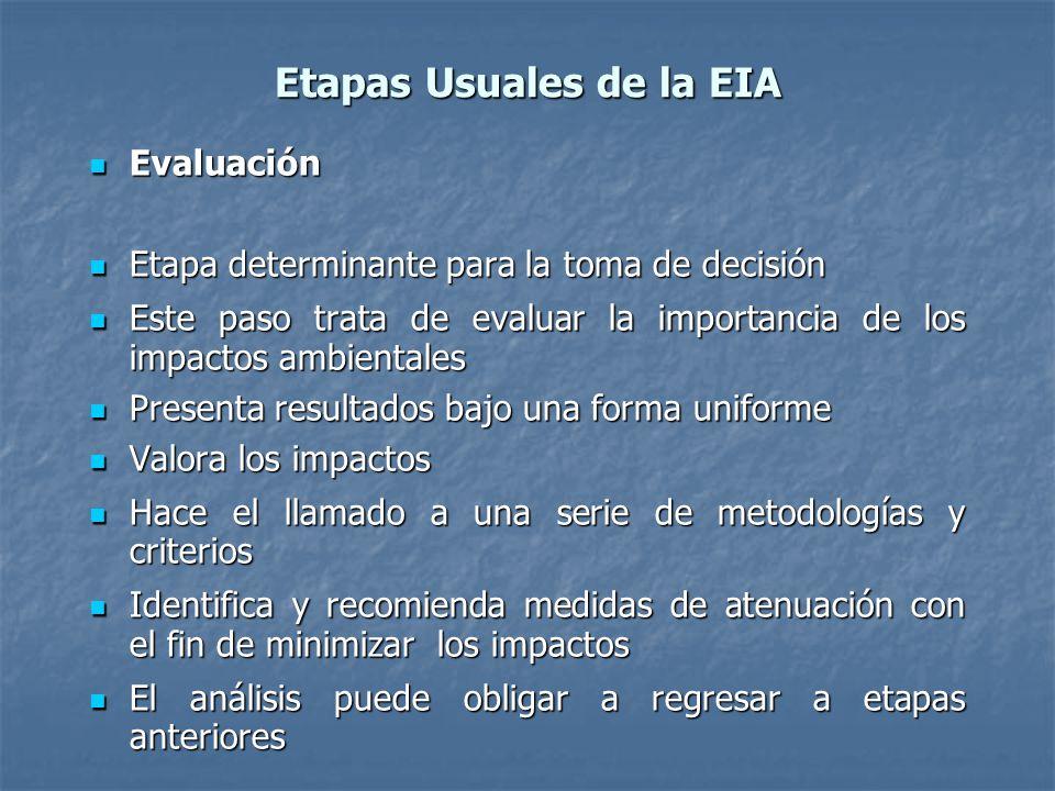 Etapas Usuales de la EIA Evaluación Evaluación Etapa determinante para la toma de decisión Etapa determinante para la toma de decisión Este paso trata