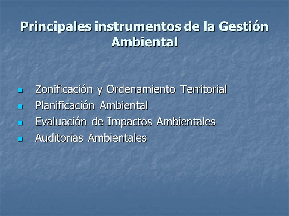 Principales instrumentos de la Gestión Ambiental Zonificación y Ordenamiento Territorial Zonificación y Ordenamiento Territorial Planificación Ambient