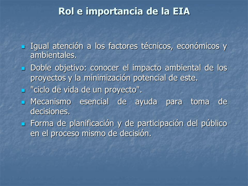 Rol e importancia de la EIA Igual atención a los factores técnicos, económicos y ambientales. Igual atención a los factores técnicos, económicos y amb