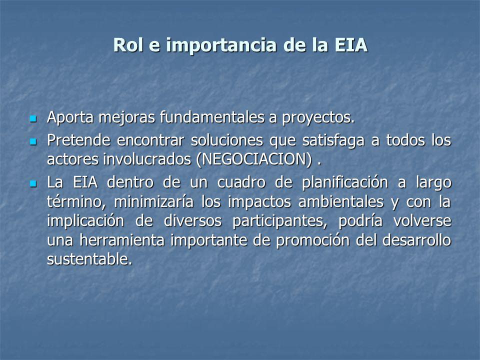 Rol e importancia de la EIA Aporta mejoras fundamentales a proyectos. Aporta mejoras fundamentales a proyectos. Pretende encontrar soluciones que sati