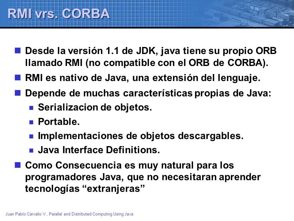 Juan Pablo Carvallo V., Parallel and Distributed Computing Using Java RMI vrs. CORBA Desde la versión 1.1 de JDK, java tiene su propio ORB llamado RMI