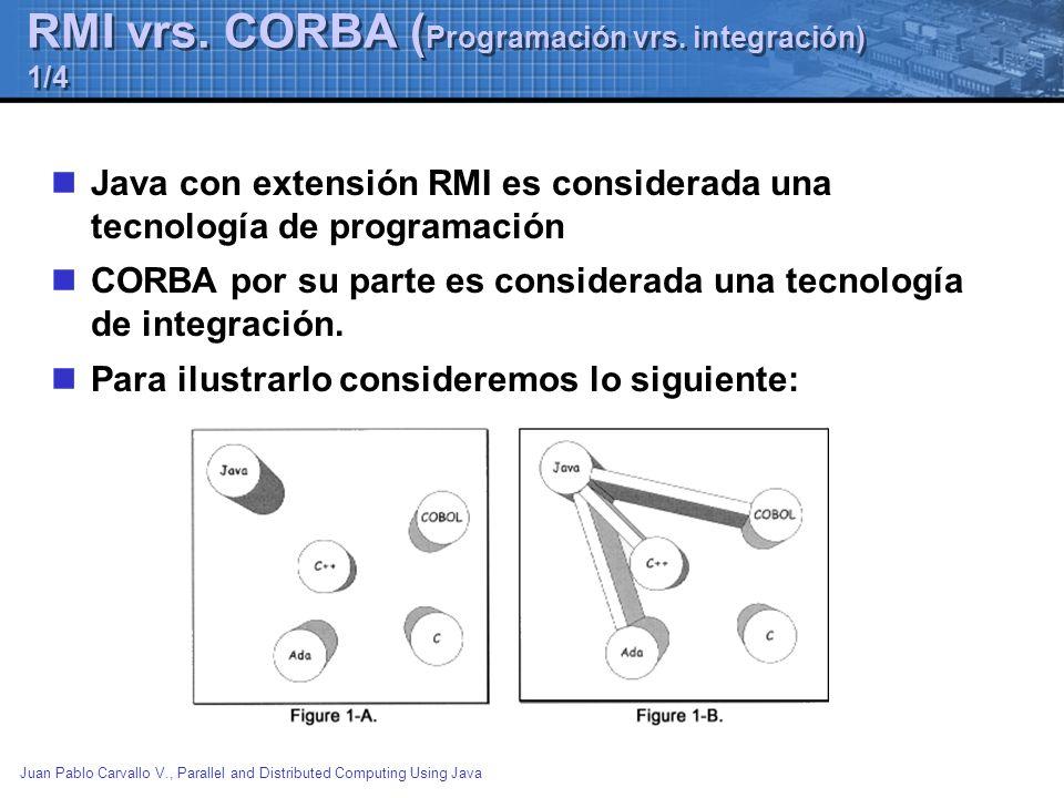 Juan Pablo Carvallo V., Parallel and Distributed Computing Using Java RMI vrs. CORBA ( Programación vrs. integración) 1/4 Java con extensión RMI es co