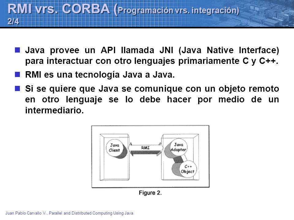Juan Pablo Carvallo V., Parallel and Distributed Computing Using Java RMI vrs. CORBA ( Programación vrs. integración) 2/4 Java provee un API llamada J