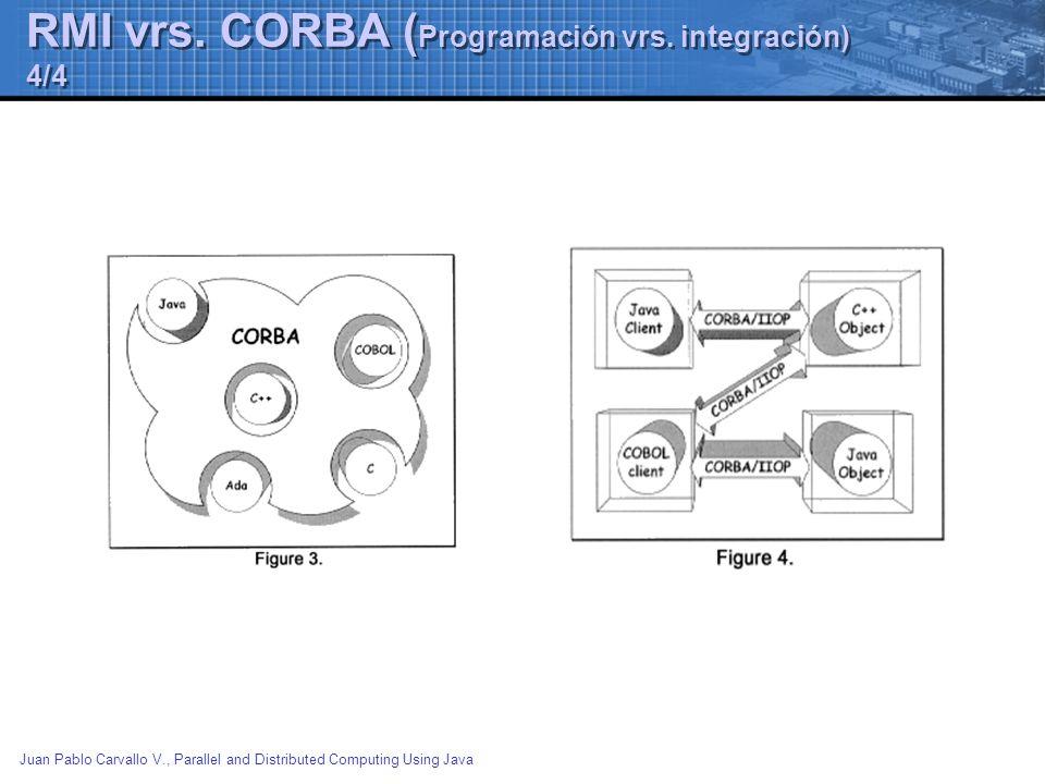 Juan Pablo Carvallo V., Parallel and Distributed Computing Using Java RMI vrs. CORBA ( Programación vrs. integración) 4/4