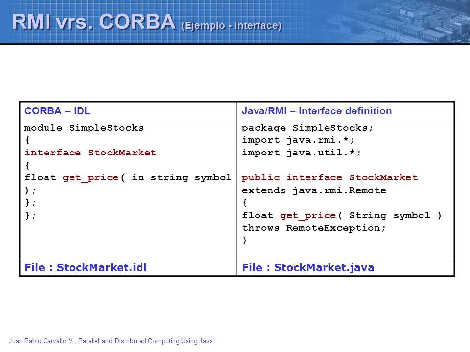Juan Pablo Carvallo V., Parallel and Distributed Computing Using Java RMI vrs. CORBA (Ejemplo - Interface) CORBA – IDLJava/RMI – Interface definition