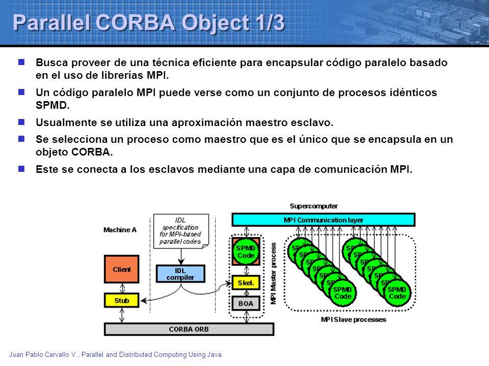 Juan Pablo Carvallo V., Parallel and Distributed Computing Using Java Parallel CORBA Object 1/3 Busca proveer de una técnica eficiente para encapsular