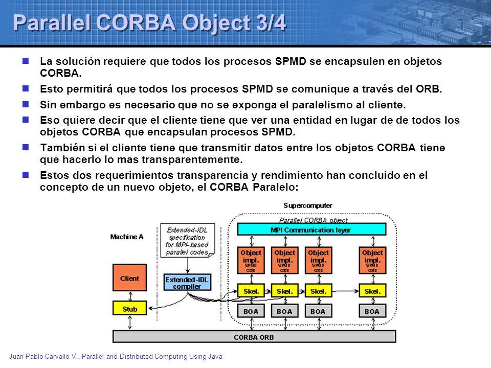 Juan Pablo Carvallo V., Parallel and Distributed Computing Using Java Parallel CORBA Object 3/4 La solución requiere que todos los procesos SPMD se en