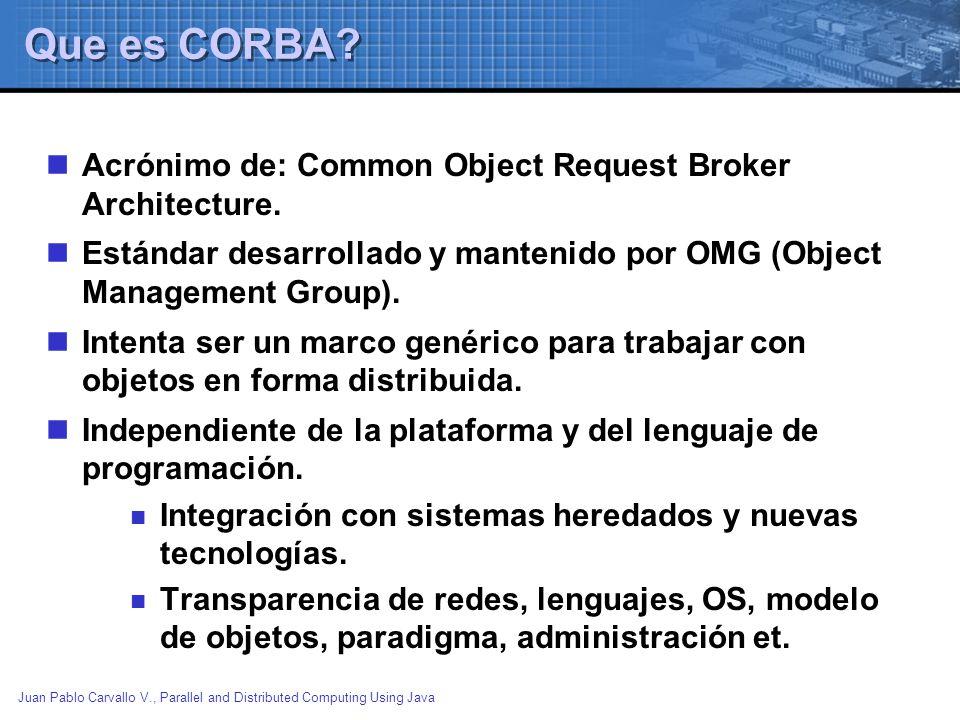 Juan Pablo Carvallo V., Parallel and Distributed Computing Using Java Bibliografia GENERAL CORBA: http://www.corba.org http://developer.java.sun.com/developer/onlineTraining/corba/corba.html COMPARATIVO RMI / CORBA: Gopalan Suresh Raj, A Detailed Comparison of CORBA, DCOM and Java/RMI.