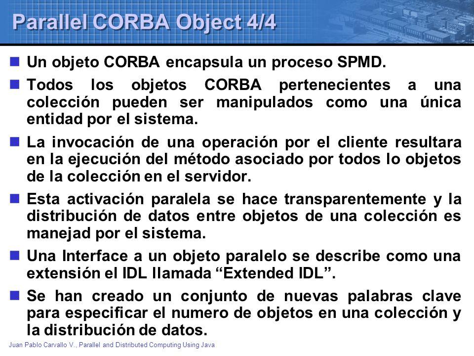 Juan Pablo Carvallo V., Parallel and Distributed Computing Using Java Parallel CORBA Object 4/4 Un objeto CORBA encapsula un proceso SPMD. Todos los o