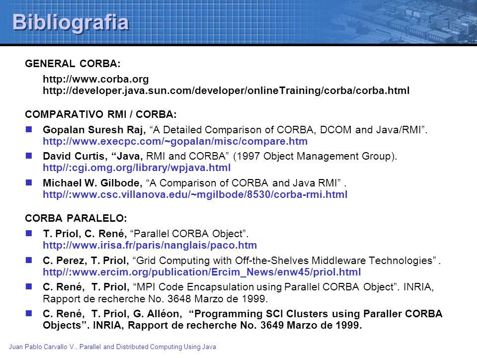 Juan Pablo Carvallo V., Parallel and Distributed Computing Using Java Bibliografia GENERAL CORBA: http://www.corba.org http://developer.java.sun.com/d