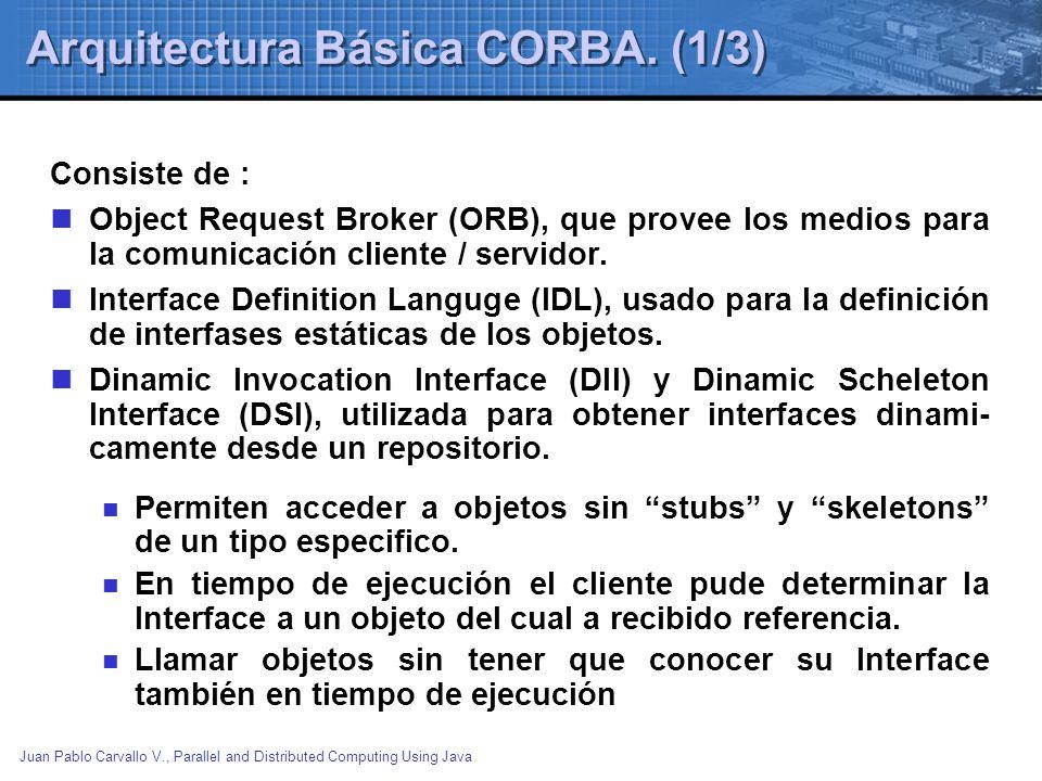 Juan Pablo Carvallo V., Parallel and Distributed Computing Using Java Arquitectura Básica CORBA.