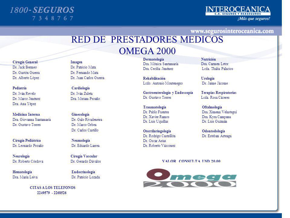 RED DE PRESTADORES MEDICOS OMEGA 2000 Cirugía GeneralImagen Dr. Jack BermeoDr. Patricio Mata Dr. Gastón Guerra Dr. Fernando Mata Dr. Alberto López Dr.