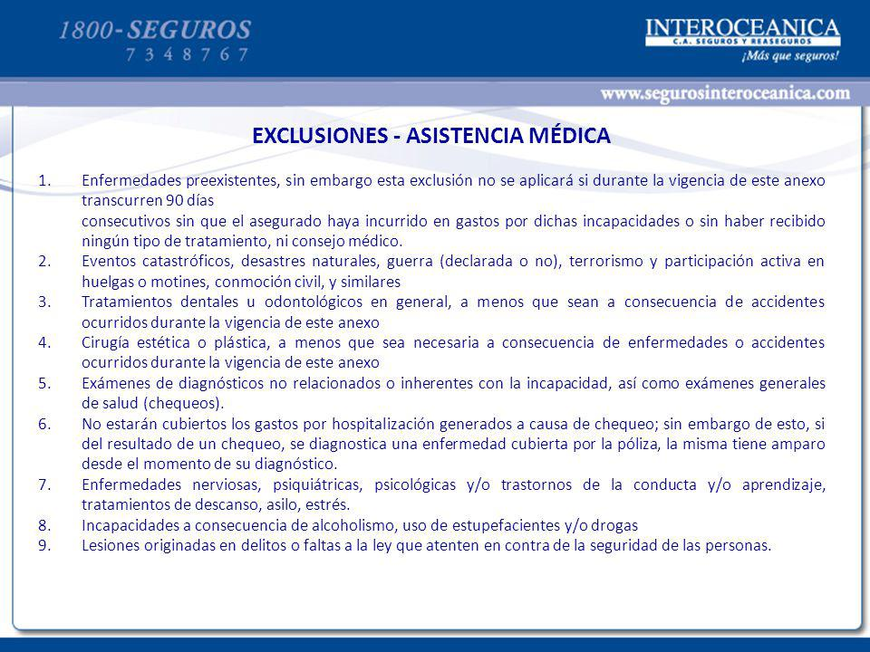 CONDICIONES ADICIONALES – ASISTENCIA MEDICA EXCLUSIONES - ASISTENCIA MÉDICA 1.Enfermedades preexistentes, sin embargo esta exclusión no se aplicará si
