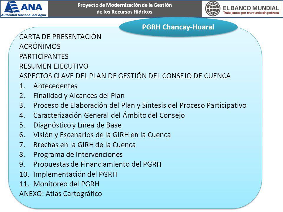 Proyecto de Modernización de la Gestión de los Recursos Hídricos CARTA DE PRESENTACIÓN ACRÓNIMOS PARTICIPANTES RESUMEN EJECUTIVO ASPECTOS CLAVE DEL PL