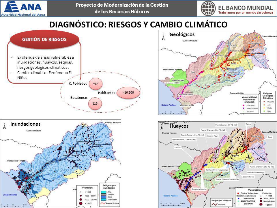 Proyecto de Modernización de la Gestión de los Recursos Hídricos -Existencia de áreas vulnerables a inundaciones, huaycos, sequías, riesgos geológicos