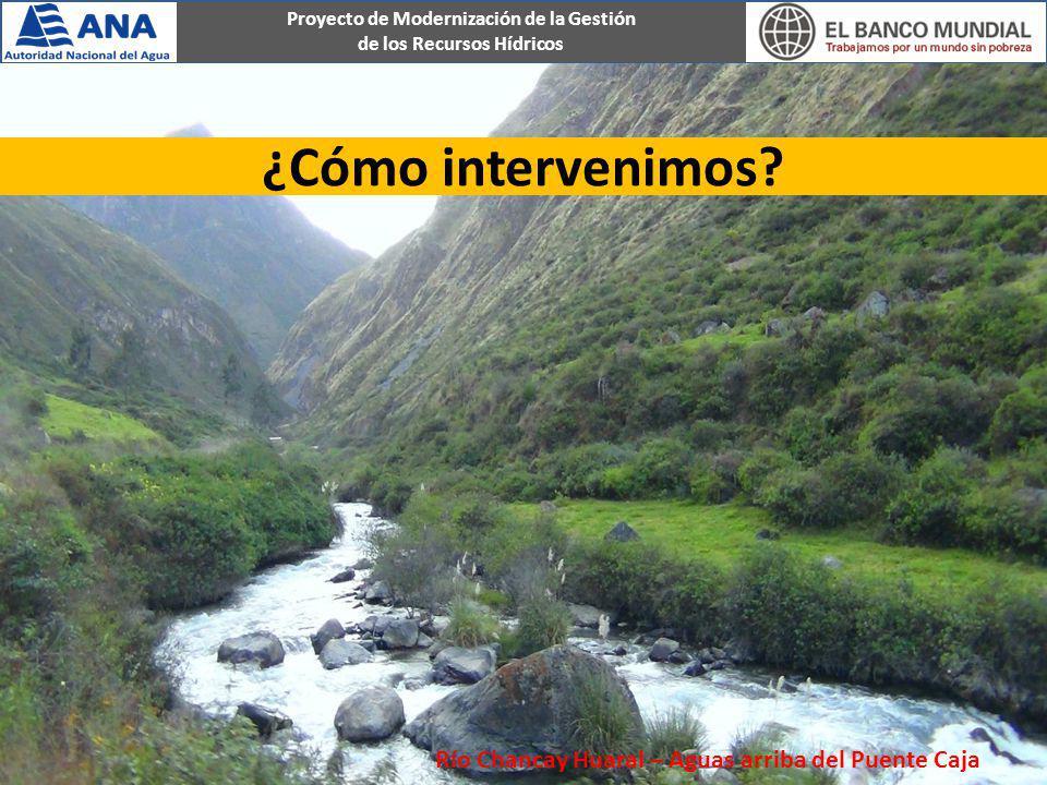 Proyecto de Modernización de la Gestión de los Recursos Hídricos ¿Cómo intervenimos? Río Chancay Huaral – Aguas arriba del Puente Caja
