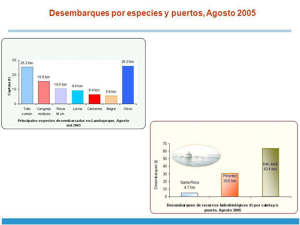 Desembarques por especies y puertos, Agosto 2005