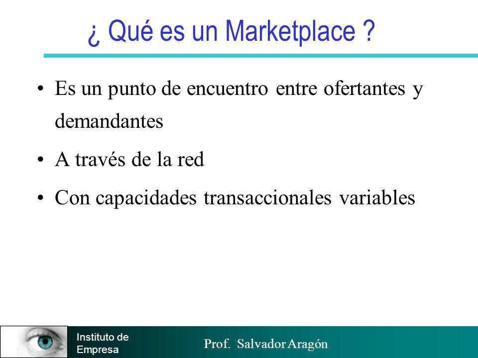 Prof. Salvador Aragón Instituto de Empresa ¿ Qué es un Marketplace ? Es un punto de encuentro entre ofertantes y demandantes A través de la red Con ca