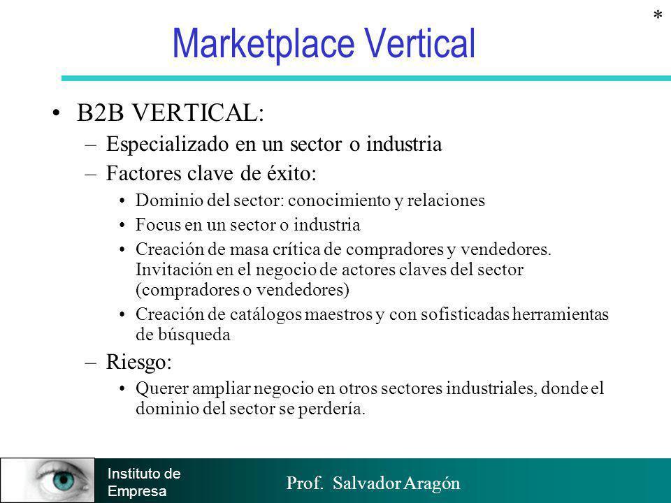 Prof. Salvador Aragón Instituto de Empresa Marketplace Vertical B2B VERTICAL: –Especializado en un sector o industria –Factores clave de éxito: Domini