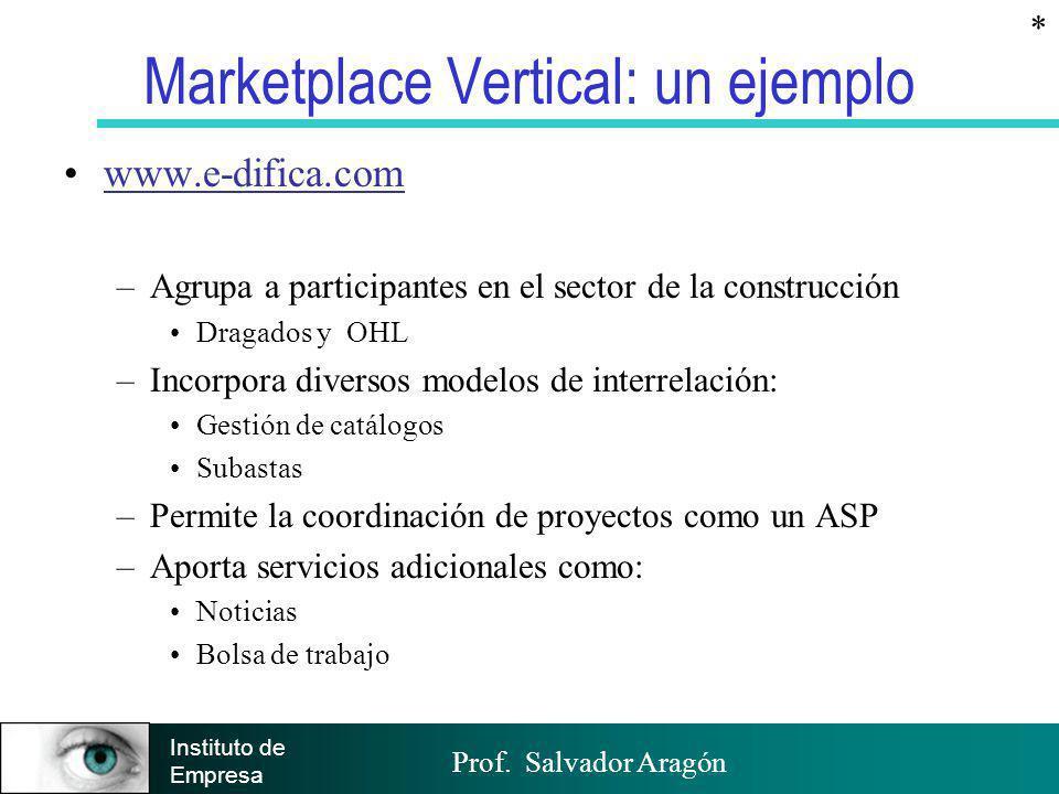 Prof. Salvador Aragón Instituto de Empresa Marketplace Vertical: un ejemplo www.e-difica.com –Agrupa a participantes en el sector de la construcción D