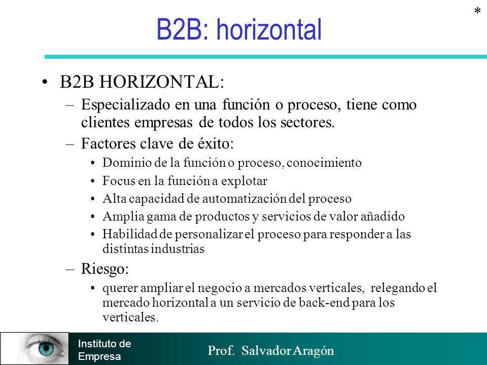 Prof. Salvador Aragón Instituto de Empresa B2B: horizontal B2B HORIZONTAL: –Especializado en una función o proceso, tiene como clientes empresas de to