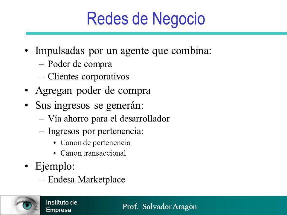 Prof. Salvador Aragón Instituto de Empresa Redes de Negocio Impulsadas por un agente que combina: –Poder de compra –Clientes corporativos Agregan pode