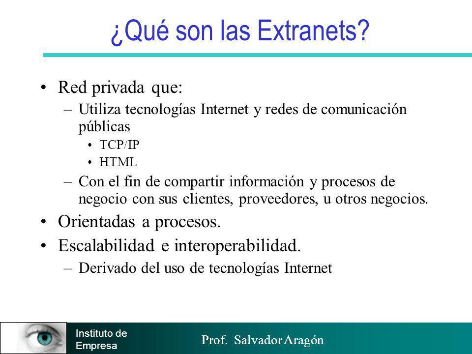 Prof. Salvador Aragón Instituto de Empresa ¿Qué son las Extranets? Red privada que: –Utiliza tecnologías Internet y redes de comunicación públicas TCP