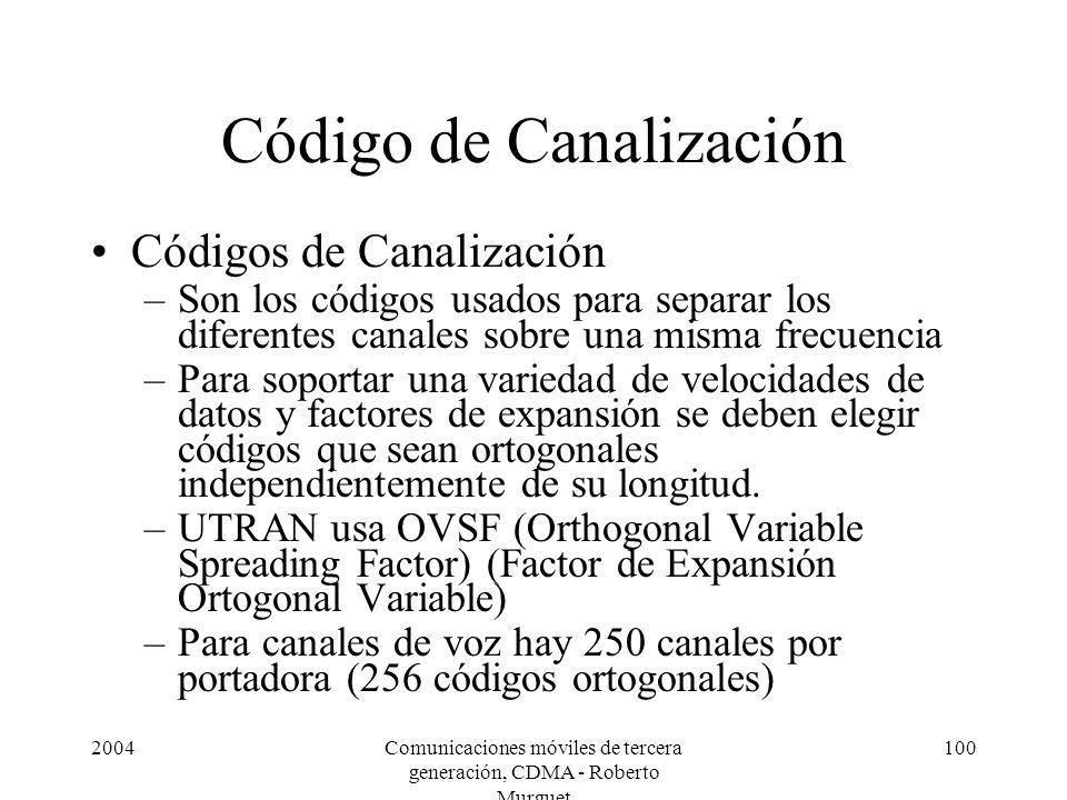 2004Comunicaciones móviles de tercera generación, CDMA - Roberto Murguet 100 Código de Canalización Códigos de Canalización –Son los códigos usados pa